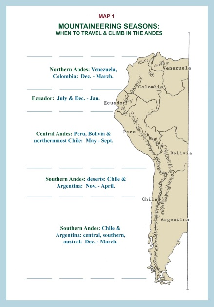 Map of the Mountaineering Seasons in the Andes