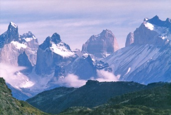 Any photograph of the Torres del Paine National Park is immediately thought to represent Chile. Thus, the image below could be like any local postcard. The Cuernos (horns) del Paine are shown on left and La Fortaleza in center. And yet, none of these bold peaks is higher than 2800m above sea level.