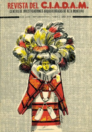 Cover of the Revista del CIADAM. The drawing on the cover shows a typical statuette that has been found on several Andean summits.