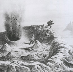 Antuco volcano in southern Chile, first ascended in 1828 by Poeppig and a local hillman. This view by a French naturalist, quite inaccurately, purports to illustrate an eruption of Antuco. Claude Gay, 1845.