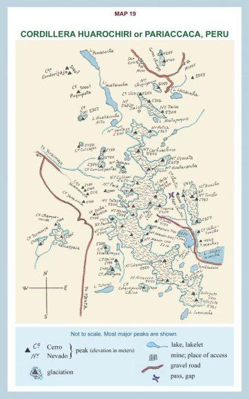 Map of Cordillera Huarochiri or Pariaccaca